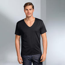 Short sleeves, V-Shirt, Black