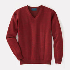 V-Neck, Bordeaux Heather