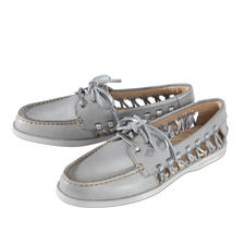 """Sperry Top-Sider """"Lady"""" - The sides are open and airy. Weight 224g (7.9 oz). Light grey with stylish, silver coloured laces."""