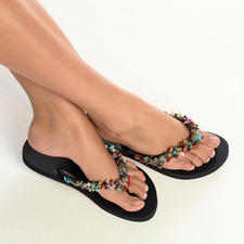 Uzurii Glamour Sandals with Decorative Stones - Uzurii turns toe post sandals into glamorous footwear.