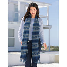 Indigo People Ikat Shawl - More like a work of art than a fashion accessory: The rare indigo shawl with ikat pattern.