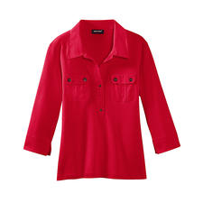 Saint James Shirt Blouse, Red - As stylish as a blouse – yet as versatile and easy as a T-shirt. By Saint James/France.