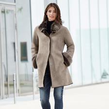 Wunderfell Lambskin Reversible Coat, Silver grey/Greige - Today a modern teddy coat, tomorrow a timeless lambskin classic. By Wunderfell, Munich.