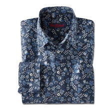 Liberty™ Tana Lawn Shirt, Dark blue/White/Blue/Grey - Floral patterned gentleman's shirt: A huge trend – yet at Liberty™ a tradition for more than 140 years.
