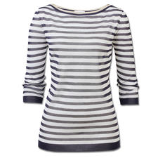 Gran Sasso Modern Maritime Jumper - The fashionable version of the maritime striped jumper. With sparkling Lurex yarn and a trendy sheerness.