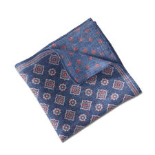 Pellens & Loick Double Print Pocket Square, Blue/Red - The double print pocket square from German traditional brand Pellens & Loick by 1870.
