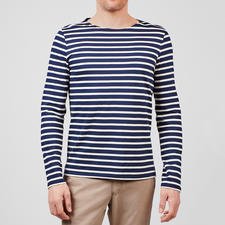 Long-sleeved Shirt, Navy/Ecru