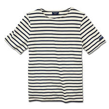 T-Shirt, Ecru/Navy