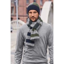 Howlin' Tricoloured Knitted Beanie or Striped Scarf - Fashionable patterns. But traditionally knitted in Scotland. Colour block beanie and striped scarf. By Howlin'.