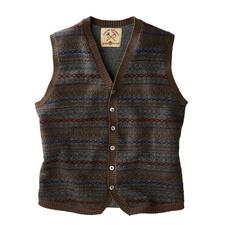 Alan Paine Fair Isle Waistcoat - The British original among many trendy patterned waistcoats. Knitwear by Alan Paine.