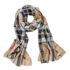 Lochcarron Tartan Scarf Thompson Camel Modern - Original Thompson Camel Modern pattern. Pure lambs wool. Made in Scotland by Lochcarron.