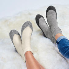 Falke Men's or Women's Slipper Socks - Slipper socks from the stocking specialist. Soft thermal knit fabric made of soft merino wool. By Falke.