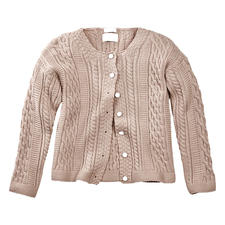 Peregrine Aran Cardigan for Women - The stylish answer to common cable knits: Traditional Aran pattern knitted in England.
