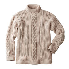 Peregrine Aran Roll-Neck Pullover for Men - The stylish answer to common cable knits: Traditional Aran pattern knitted in England. By Peregrine.