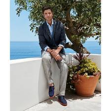 Bottoli's Glen Check Linen Trousers
