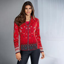 IVKO Jacquard Jacket Red - Exceptional multicoloured jacquard knit. A truly unique piece from Serbia. By IVKO.