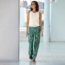 Ivko Fine Knit Top or Jacquard Knit Trousers - Light summer knitwear for a fashionable all-over look. Textured top and jacquard trousers by Ivko, Serbia.