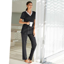 Verdiani Pinstripes Pyjamas - Probably your most elegant pyjamas. Modern, clean-cut shape. Classic pinstripes. Feminine lace.