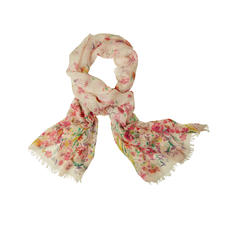 Pashma Floral Scarf - More luxurious than most fashionable floral scarfs. Pashmina cashmere with silk and linen.