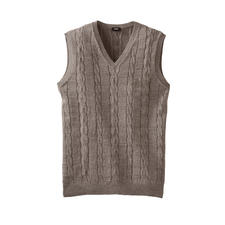 Inca Cable Knit Slipover - Chic cable knit slipover made of baby alpaca wool and pima cotton. By knitwear specialist Clark Ross.