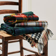 Lochcarron Tartan Scarf - Original Thompson Camel Modern pattern. Pure lambs wool. Made in Scotland by Lochcarron.