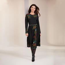 Ivko Jacquard Knitted Dress Belle Epoque - A rare piece from Serbia: Jacquard knit dress in extraordinary colour and pattern variety. By IVKO.