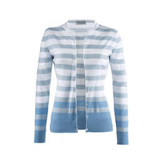 Smedley Twin Set with Block Stripes, White/Blue - On-trend colours, fashionable stripes. The fine knit twin set by John Smedley, England.