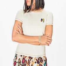 M Missoni Basic Knitted Top - Finest rib knit. Fresh colour accents. Hand-embroidered logo. By M Missoni.