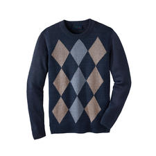 Linen Checked Jumper - Airy, comfortable and low-crease. Made in Ireland by knitwear specialists Carbery, since 1886.