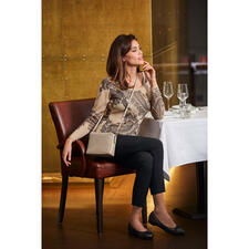 Pashma 30-gauge paisley pullover - 30-fine-gauge knit made of Pashmina cashmere and silk. By Pashma, India.