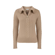 Wool & Silk Zip-neck Pullover - Traditional knitted zip-neck pullovers are rarely this modern or feminine. Shorter length. Finished with silk.