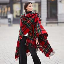 Lochcarron Royal Stewart Tartan Cape - Registered Royal Stewart tartan by traditional weaver Lochcarron of Scotland.