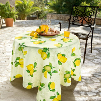 Provencal Table Linen Stain repellent, non-fading and easy-care. Durable woven Panama fabric. For indoors and outdoors.