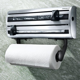Triple Stainless Steel Dispenser What you need in the kitchen, ready to hand in a smart stainless steel holder.
