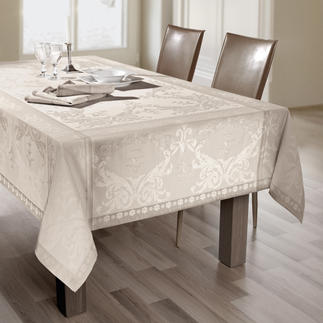 """Shabby Chic"" Tablecloth Luxuriously processed and featuring a faded jacquard design. With clever anti-stain treatment."