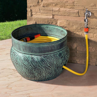 """Key West"" Hose Container The elegant home for your garden hose. Made of powder-coated steel."
