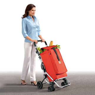 "Shopping Trolley ""Go up"" Push don't pull. Lightweight with a huge capacity. With a separate ""freezer compartment""."