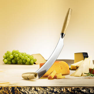 Original Dutch Cheese Knife Glides through cheese by rocking back and forth. No more tedious slicing.