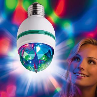"Club Light 2 go The ""Disco Ball"" as a tri-coloured LED light bulb. .Energy label: Light bulb A."