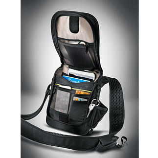 Safety Shoulder Bag Triple threat for thieves: Slash-proof. RFID protected. With alarm.