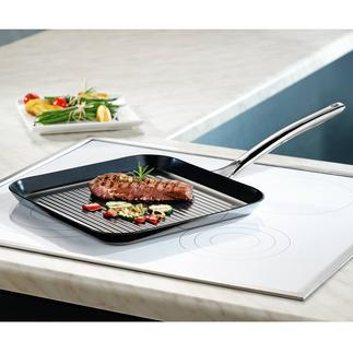 Vulcano Ceramic Grill Pan With scratch-proof coating. Heat-resistant up to 400°C and suitable for induction hobs.