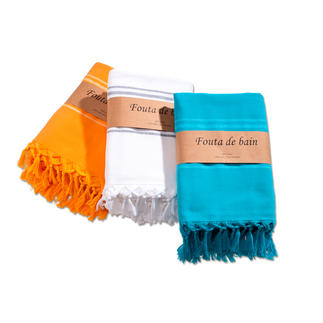 Fouta The no. 1 trend at the beach, spa etc. Made of soft cotton with a fine terry towelling back.