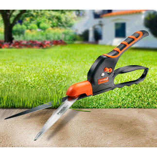 Serrated Edging Shears Even cuts wet grass without pinching it. Saves time and energy.