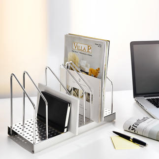 Officeflexx® Standing Magazine File Filing  instead of stacking enables easy access and keeps your paperwork tidy