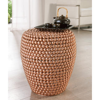 Dot Stool Copper In trendy copper. Handmade from hundreds of metallic beads. Each one unique.