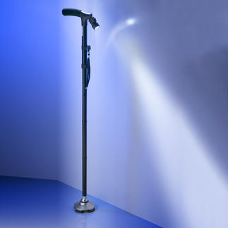 Foldable Stand-Up Cane Provides reliable support, even on cobblestones & forest. Swivel LED light in the handle.