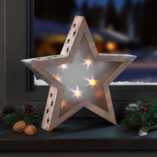 Holographic Star Light Wooden star with an enchanting effect. Sparkling starlight adds a magical glow to any room.