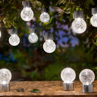 Crackle Balls Refined LED lighting for your terrace, garden, as party decoration, … Solar powered. To hang or stand.