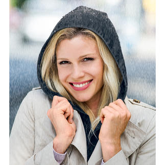 Hood To Go Chic and practical rain protection that's easy to wear under or over your coat or jacket.