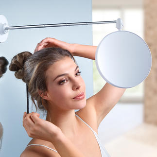 Twist Mirror The perfect mirror to apply make-up and style your hair. 6-fold magnification. Suction cup holder.